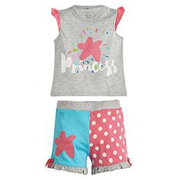 Puantiyeli Kısa Kol Şort Pijama Takımı Gri Melanj (0-3 yaş)