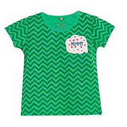 Pop Girls Zigzaglı Kısa Kol Kız Bebek Tişört Green Tea (0-2 yaş)