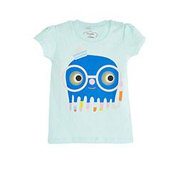 Pop Girls Gözlüklü Canavar Kısa Kol Kız Bebek Tişört Buz (0-2 yaş)