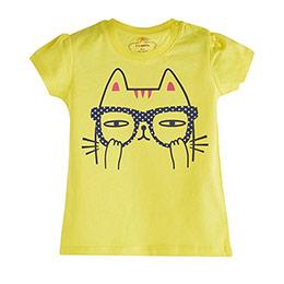 Pop Girls Gözlüklü Kedi Kısa Kol Kız Bebek Tişört Koyu Sarı (0-2 yaş)