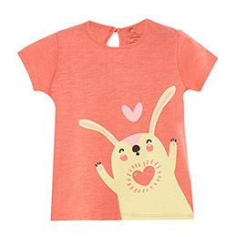 Pop Girls Kalpli Tavşan Kısa Kol Kız Bebek Tişört Porselen Rose (0-2 y