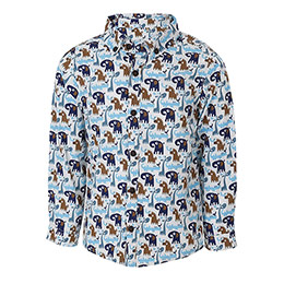 Erkek Bebek Uzun Kol Taşıtlar Baskılı Gömlek Açık Taş (56-92)