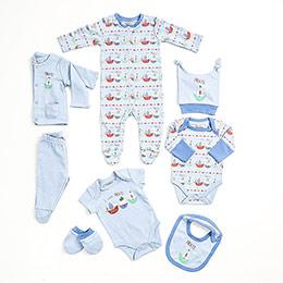 Erkek Yenidoğan Sekizli Hastane Çıkışı Mavi (0-3 ay)
