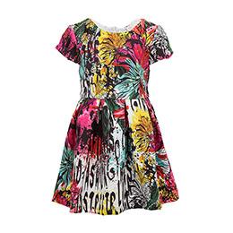 Kız Çocuk Kısa Kol Elbise Taş (3-12 yaş)