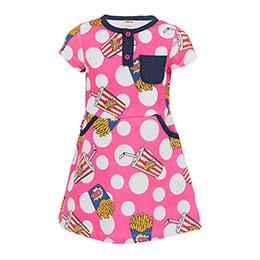 Kız Çocuk Kısa Kol Elbise Fuşya (3-12 yaş)