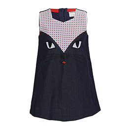 Kız Çocuk Kot Kolsuz Elbise Lacivert (1-7 yaş)