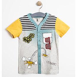 Erkek Çocuk Kısa Kol Gömlek Gri Melanj (3-12 yaş)