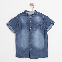 Erkek Çocuk Kot Kısa Kol Gömlek Mavi (8-12 yaş)