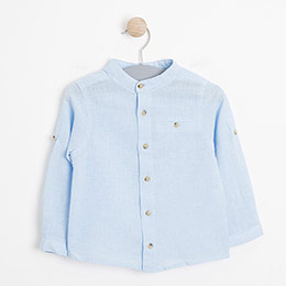 Erkek Bebek Uzun Kol Gömlek Açık Mavi (0-2 yaş)