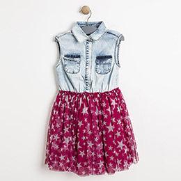 Kız Çocuk Kolsuz Kot Tütü Elbise Pembe (3-12 yaş)