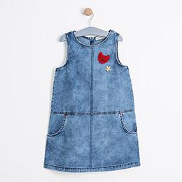 Kız Çocuk Kolsuz Kot Elbise Mavi (8-12 yaş)