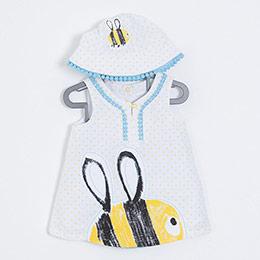 Kız Bebek Elbise Külot Şapka Set Beyaz (0-2 yaş)