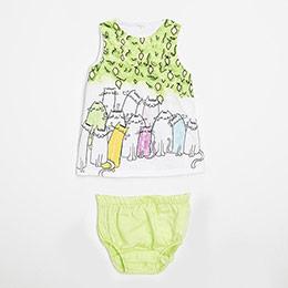 Kız Bebek Kolsuz Külotlu Elbise (0-3 yaş)