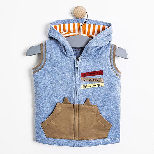 Erkek Bebek Yelek Mavi Melanj (0-3 yaş)