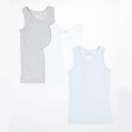 Erkek Çocuk Üçlü Atlet Set Beyaz (2-7 yrs)