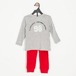 Erkek Çocuk Pijama Takımı Gri Melanj (3-7 yaş)