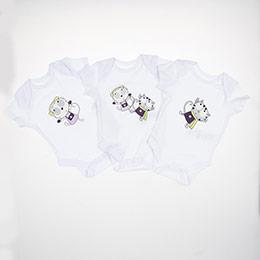 Erkek Bebek Üçlü Badi Beyaz (0-2 yaş)