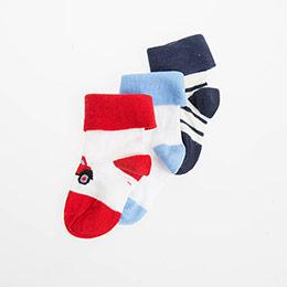 Erkek Bebek Üçlü Çorap Kırmızı (14-16 numara)
