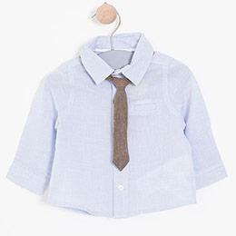 Erkek Bebek Uzun Kol Gömlek Kravat Set Mavi (0-3 yaş)