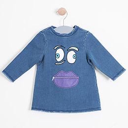 Kız Çocuk Kısa Kol Elbise Mavi (1-7 yaş)