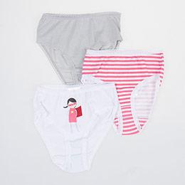 Kız Çocuk Üçlü Külot Set Beyaz (2-6 yaş)