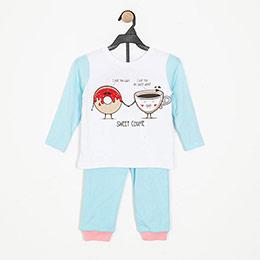 Kız Çocuk Pijama Takımı Mavi (3-7 yaş)