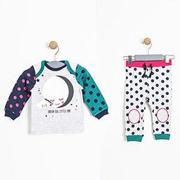 Kız Bebek Sweatshirt Eşofman Altı Set Gri Melanj (0-2 yaş)