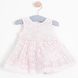 Kız Bebek Elbise Külot Set Pudra (0-2 yaş)
