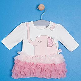 Kız Bebek Badili Elbise Ekru (0-2 yaş)