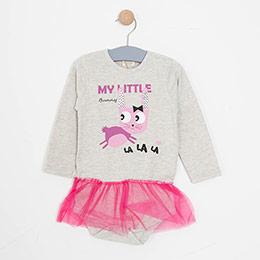 Kız Bebek Elbise Açık Gri Melanj (0-2 yaş)