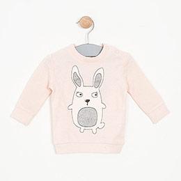 Kız Bebek Sweatshirt Açık Gül (0-2 yaş)