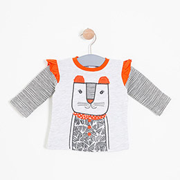 Kız Bebek Sweatshirt Açık Gri Melanj (0-2 yaş)