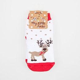 Çocuk Yılbaşı Çorabı Beyaz (27-34 numara)