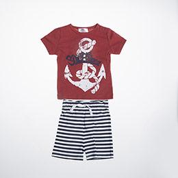 Erkek Bebek Örme Set Kırmızı (56 cm-2 yaş)