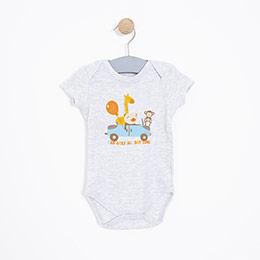 Erkek Bebek Kısa Kol Badi Açık Gri Melanj (0-2 yaş)