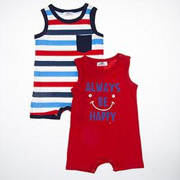 Erkek Bebek Kısa Kol Badi Set Kırmızı (0-2 yaş)