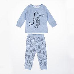 Erkek Bebek Pijama Takımı Mavi Melanj (56 cm-2 yaş)