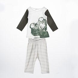 Erkek Bebek Pijama Takımı Bej (56 cm-2 yaş)
