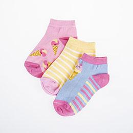 Kız Çocuk Üçlü Patik Çorap Beyaz (23-34 numara)
