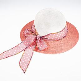 Kız Çocuk Hasır Şapka Mercan (3-8 yaş)