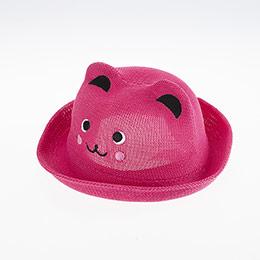 Kız Çocuk Hasır Şapka Koyu Pembe (3-8 yaş)