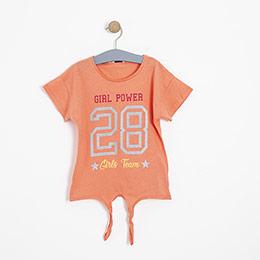 Kız Çocuk Kısa Kol Tişört Somon (3-12 yaş)