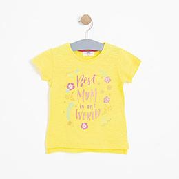 Kız Çocuk Kısa Kol Tişört Sarı (3-7 yaş)