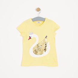 Kız Çocuk Kısa Kol Tişört Sarı (3-12 yaş)