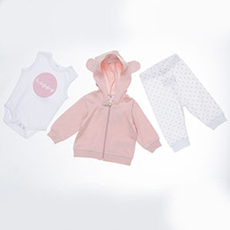 Kız Bebek Örme Takım Pembe (0-2 yaş)