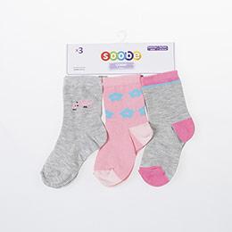 Kız Bebek Üçlü  Soket  Çorap Gri (14-22 numara)