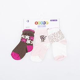 Kız Bebek Üçlü  Soket  Çorap Kahve (14-22 numara)