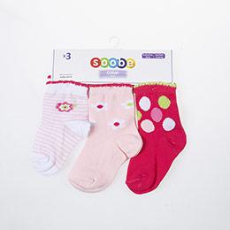 Kız Bebek Üçlü Soket Çorap Beyaz (14-22 numara)