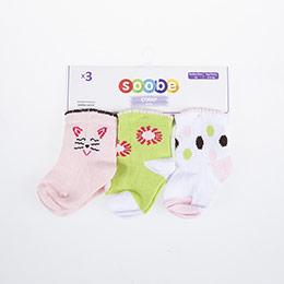 Kız Bebek Üçlü Çorap Beyaz (14-22 numara)