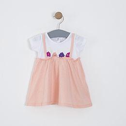 Kız Bebek Elbise Somon (0-2 yaş)